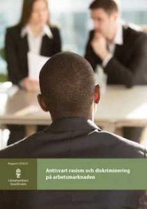 """Omslag rapporten """"Antisvart rasism och  diskrimiinering på arbetsmarknaden"""""""